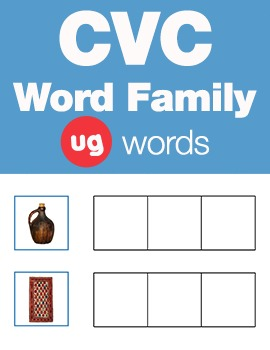 CVC Word Family -ug Word Family Workbooks and Games