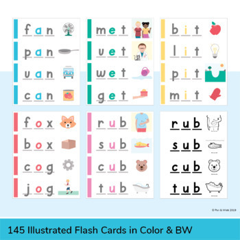 CVC Word Flash Cards - Short Vowel Sounds (Illustrated)
