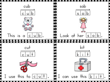 CVC Word Flashcards with Elkonin Boxes and Sight Word Sentences
