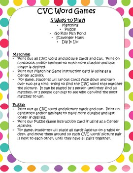 CVC Word Game- 5 Ways to Play