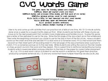 CVC Word Game Meets Multiple Kindergarten Common Core Standards