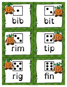 Phonics Game Short Vowel CVC Words with Pumpkin People