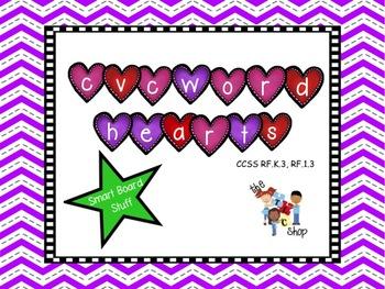 CVC Word Hearts for SMART BOARD