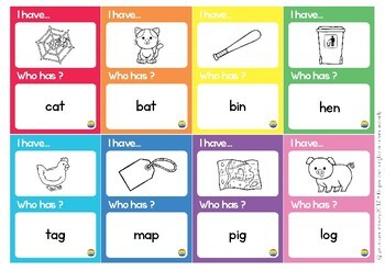 CVC Word 'I Have, Who Has?' Loop Card Game
