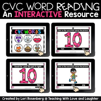 CVC Word Interactive Games Distance Learning