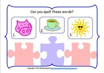 CVC Word Jigsaw Center - literacy center activity to practice making CVC words