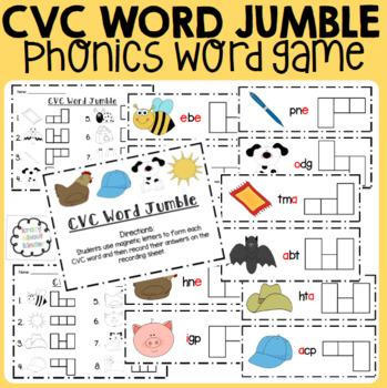 CVC Word Jumble : Word Work : Literacy Center