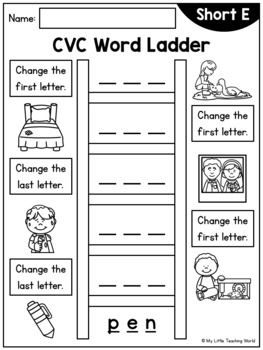 Word Ladder (CVC Words, Short and Mixed Vowels)