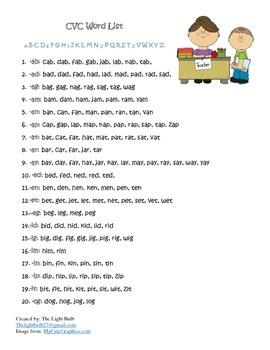 CVC Word List