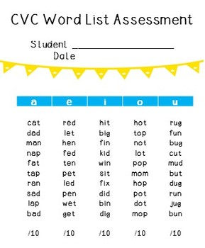 CVC Word List Assessment Freebie