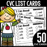 CVC Word List Cards