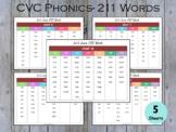 CVC Word List, Phonics Printable, 211 CVC Words, T-195