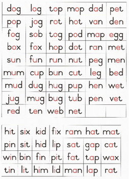 CVC Word List with Red Vowel