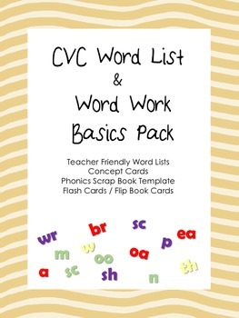 CVC Word Lists and and Word Work Activities