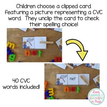 CVC Word Literacy Center {Building CVC Words}