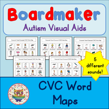 CVC Word Maps - Boardmaker Visual Aids for Autism