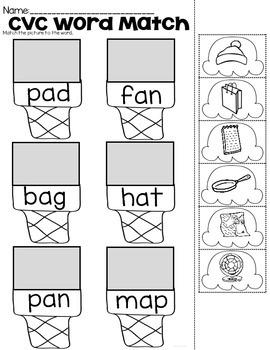 CVC Word Match Practice Sheets