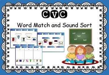 CVC - Interactive SMART Notebook - Word Match and Sound Sort