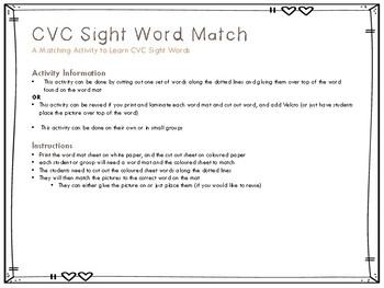 CVC Word Matching Mats