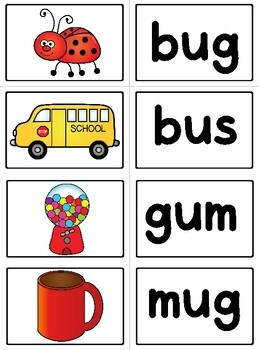 Kindergarten CVC Word Memory Match Game