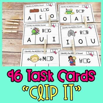 CVC Word Practice | CVC Word Task Cards - Identifying Middle/Vowel Sounds