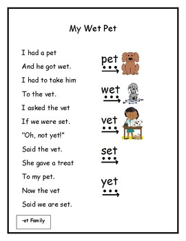 CVC Word Poems- Letters A and E
