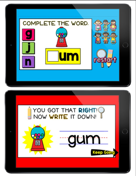 CVC Word Practice: Solve It and Write It PowerPoint Game