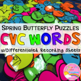 CVC Word Puzzles:Spring Edition-w/ Differentiated Recordin