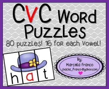 Short Vowel Puzzles! Fun Word Work Center!