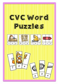 CVC Word Puzzles- Literacy Group Activity