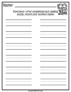 CVC Word Spelling Puzzles: Short U Words