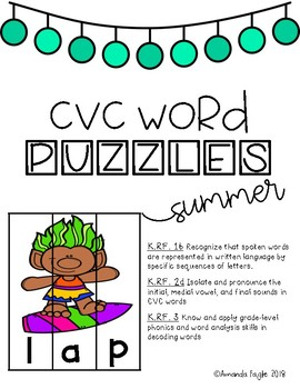 CVC Word Puzzles: Summer Edition