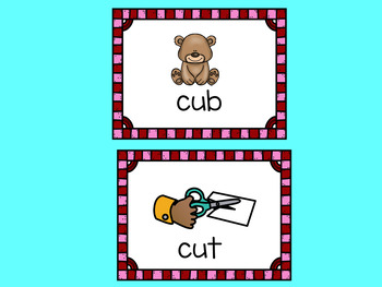 CVC Words Valentine's Day Puzzles Vowel U with Moveable Pieces for Google Drive
