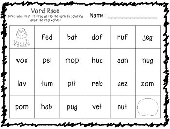 CVC Word Race Printables - real vs nonsense words