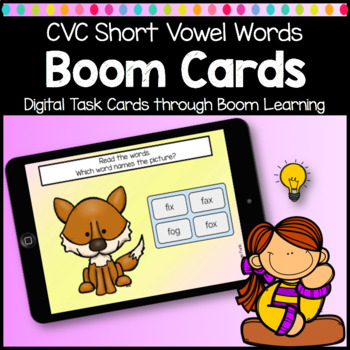 Boom Cards CVC Word Reading Digital Learning Game