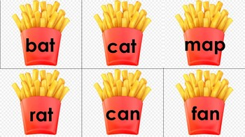 CVC Word Reading Matching Picture to Words Hamburgers and French Fries