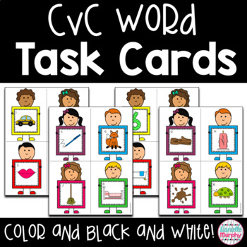 Task Cards--CVC Word Scoot game!