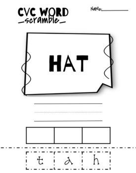 CVC Word Scramble Worksheets Printables
