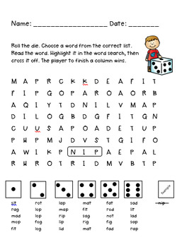 CVC Word Roll, Read and Find Set 1.1
