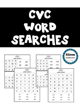 CVC Word Search- Literacy Center Activity (Special Ed., Elementary, Autism)