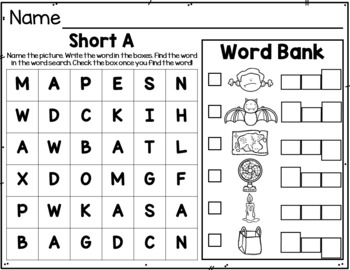 CVC Word Search Puzzle Write and Find Activty and Worksheets
