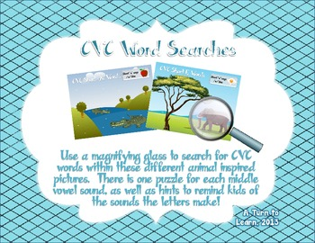 CVC Word Searches - Perfect Game to Review Middle Vowel Sounds