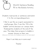 CVC Word & Sentence Reading Match (Fill in the Bubble Activity)