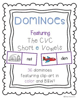 CVC Word (Short e Vowels)/ Picture Match Dominoes Game