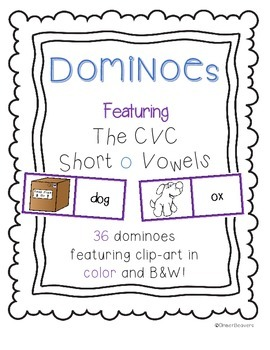 CVC Word (Short o Vowels)/ Picture Match Dominoes Game