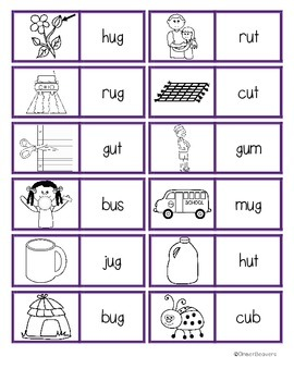 CVC Word (Short u Vowels)/ Picture Match Dominoes Game