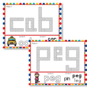 CVC Word Snap Cube Mats | CVC Word Mats | Literacy Center