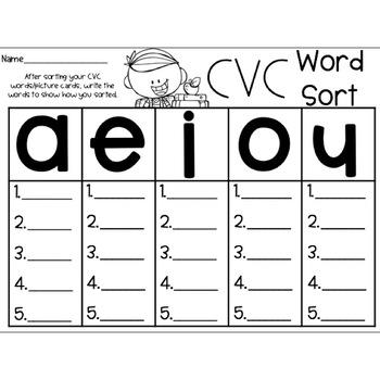 CVC Word Sort & Activities