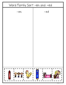 CVC Word Sort--Short e Picture Word Sort