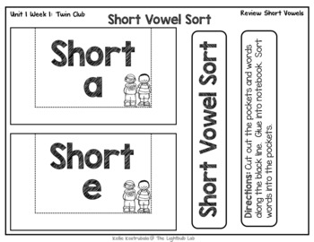 CVC Word Study Packet: (The Twin Club) Reading Street Supplemental Resource